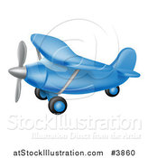 Vector Illustration of a Flying Blue Airplane by AtStockIllustration