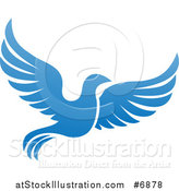 Vector Illustration of a Flying Blue Bird by AtStockIllustration