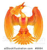 Vector Illustration of a Flying Fiery Phoenix Bird by AtStockIllustration