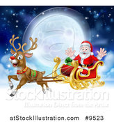Vector Illustration of a Flying Magic Christmas Red Nosed Reindeer, Rudolph, Flying Santa in a Sleigh Above the Clouds Against a Full Moon by AtStockIllustration