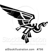 Vector Illustration of a Flying Mayan or Aztec Bird Design in Black and White by AtStockIllustration