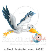 Vector Illustration of a Flying Stork Bird Holding a Happy Baby Boy in a Blue Bundle with His Arms out like Wings by AtStockIllustration
