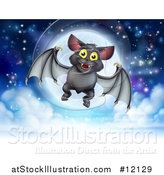 Vector Illustration of a Flying Vampire Bat over a Full Moon by AtStockIllustration