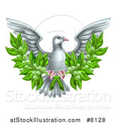 Vector Illustration of a Flying White Peace Dove Holding Crossed Olive Branches by AtStockIllustration