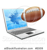 Vector Illustration of a Football Flying Through and Shattering a 3d Laptop Screen by AtStockIllustration