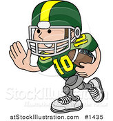 Vector Illustration of a Football Player Athlete in a Green and Yellow Uniform, Running with the Ball in Hand by AtStockIllustration