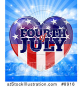 Vector Illustration of a Fourth of July American Flag Heart over a Blue Sky with Clouds and Rays by AtStockIllustration