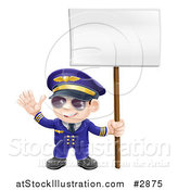 Vector Illustration of a Friendly Aviation Pilot Waving and Holding a Sign by AtStockIllustration