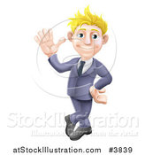 Vector Illustration of a Friendly Blond Businessman in a Blue Suit, Leaning and Waving by AtStockIllustration