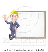 Vector Illustration of a Friendly Blond Businessman Waving by a White Board by AtStockIllustration