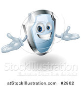 Vector Illustration of a Friendly Blue and Chrome Shield Mascot Holding His Hands out by AtStockIllustration