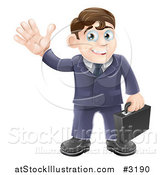 Vector Illustration of a Friendly Businessman Waving and Carrying a Briefcase by AtStockIllustration
