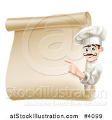 Vector Illustration of a Friendly Chef Pointing to a Scroll Menu by AtStockIllustration