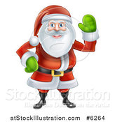 Vector Illustration of a Friendly Christmas Santa Claus Waving by AtStockIllustration