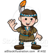 Vector Illustration of a Friendly Girl in a Native American Indian Costume Made of Leather and Beads, Wearing a Feather in Her Hair and Waving by AtStockIllustration