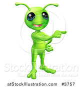 Vector Illustration of a Friendly Green Alien Pointing by AtStockIllustration