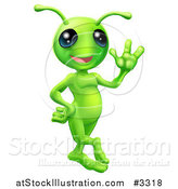 Vector Illustration of a Friendly Green Alien Waving Hello by AtStockIllustration