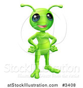 Vector Illustration of a Friendly Green Alien with Its Hands on Its Hips by AtStockIllustration