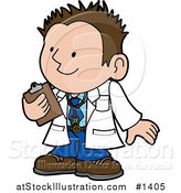 Vector Illustration of a Friendly Male Doctor in a White Coat, Holding a Clipboard and Smiling While Talking with a Patient by AtStockIllustration