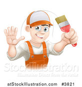 Vector Illustration of a Friendly Male House Painter Holding a Brush and Waving by AtStockIllustration