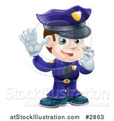 Vector Illustration of a Friendly Male Police Officer Holding a Hand up and Using a Whistle by AtStockIllustration