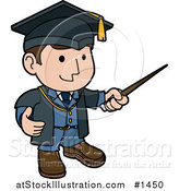Vector Illustration of a Friendly Male Teacher in a Graduation Cap and Blue Uniform, Waving Around a Pointer Stick While Teaching Class by AtStockIllustration
