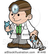Vector Illustration of a Friendly Male Veterinarian Petting a Dog and Holding a Cat During a Yearly Exam by AtStockIllustration