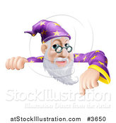 Vector Illustration of a Friendly Male Wizard Looking over and Pointing down at a Sign by AtStockIllustration