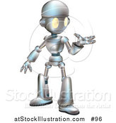 Vector Illustration of a Friendly Metal Robot Gesturing with One Hand by AtStockIllustration