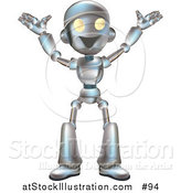 Vector Illustration of a Friendly Metal Robot Happily Gesturing with His Arms up by AtStockIllustration