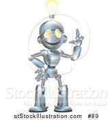 Vector Illustration of a Friendly Metal Robot with an Idea and a Lightbulb over His Head by AtStockIllustration