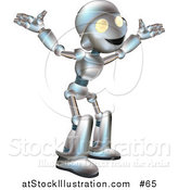 Vector Illustration of a Friendly Metal Robot with His Arms out by AtStockIllustration