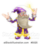 Vector Illustration of a Friendly Old Wizard Holding up a Magic Wand by AtStockIllustration