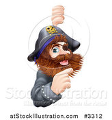Vector Illustration of a Friendly Pirate Captain Pointing at a Sign by AtStockIllustration