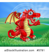Vector Illustration of a Friendly Red Dragon Waving in a Valley by AtStockIllustration
