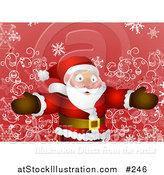 Vector Illustration of a Friendly Santa Standing with Open Arms over Red and Swirls by AtStockIllustration