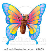 Vector Illustration of a Friendly Waving Butterfly Mascot by AtStockIllustration