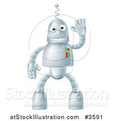 Vector Illustration of a Friendly Waving Robot Mascot by AtStockIllustration