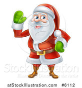 Vector Illustration of a Friendly Waving Santa by AtStockIllustration