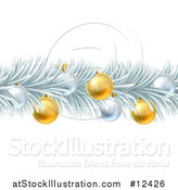 Vector Illustration of a Frozen Christmas Garland with Silver and Gold Bauble Ornaments by AtStockIllustration