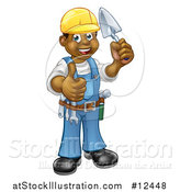 Vector Illustration of a Full Length Black Male Mason Worker Holding a Trowel and Giving a Thumb up by AtStockIllustration