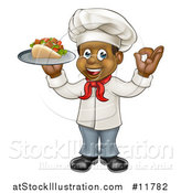 Vector Illustration of a Full Length Cartoon Black Male Chef Holding a Souvlaki Kebab Sandwich on a Tray and Gesturing Perfect by AtStockIllustration
