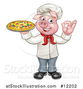Vector Illustration of a Full Length Chef Pig Gesturing Perfect and Holding a Pizza by AtStockIllustration