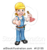 Vector Illustration of a Full Length Female Plumber Giving a Thumb up and Holding a Plunger by AtStockIllustration