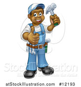 Vector Illustration of a Full Length Happy Black Male Carpenter Holding a Hammer and Giving a Thumb up by AtStockIllustration
