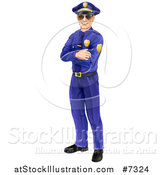 Vector Illustration of a Full Length Happy Caucasian Male Police Officer Standing with Folded Arms and Wearing Sunglasses by AtStockIllustration