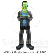 Vector Illustration of a Full Length Happy Frankenstein by AtStockIllustration