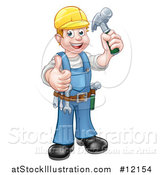 Vector Illustration of a Full Length Happy Male Carpenter Holding a Hammer and Giving a Thumb up by AtStockIllustration