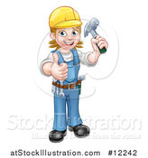 Vector Illustration of a Full Length Happy White Female Carpenter Worker Holding up a Hammer and Giving a Thumb up by AtStockIllustration