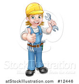 Vector Illustration of a Full Length Happy White Female Mechanic Wearing a Hard Hat, Holding up a Wrench and Giving a Thumb up by AtStockIllustration